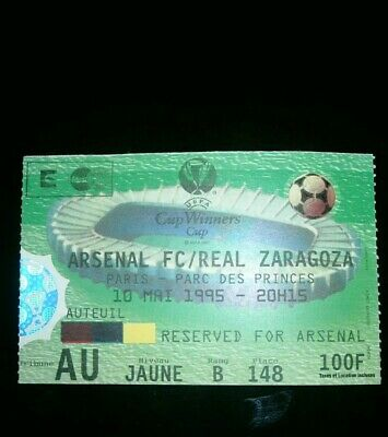 Arsenal V Real Zaragoza - European Cup Winners Cup Final Ticket 1995