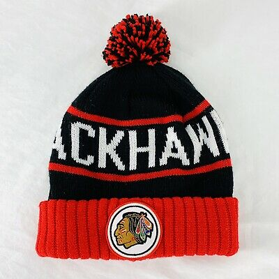 Mitchell And Ness Chicago Blackhawks NHL Pom Beanie Knit Cuffed Hat Cap Adult