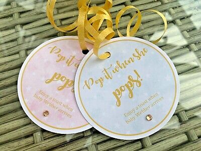 5 X Mini wine bottle labels tags PROSECCO baby shower gift tags POP it