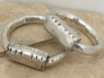 Pair Of Antique North African Large Solid Silver Tribal Armets 198.3 grams