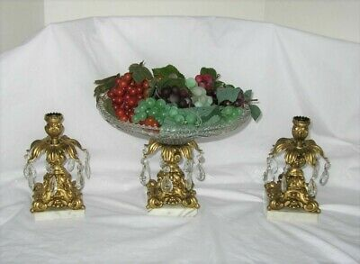 Hollywood Regency Glass GOLD COMPOTE Pedestal Bowl  CANDLE Holders MARBLE Italy
