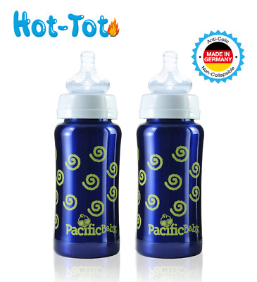 Hot-Tot Stainless Steel Insulated 7 oz Infant Baby Eco Feeding Bottle - 2 Pack