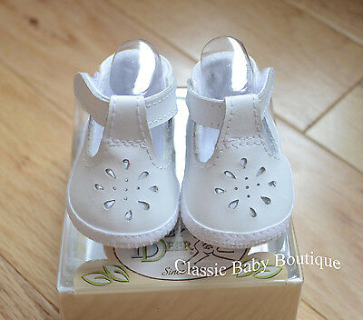 NWT Baby Deer White Genuine Leather T-Strap Booties Crib Shoes Girls 1-3M Sz 1