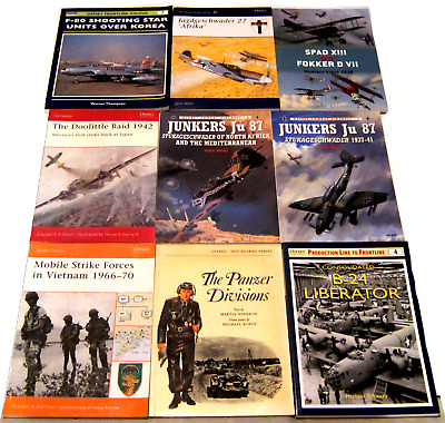 9 Osprey Books: Combat Aircraft, Men-At-Arms, Campaign, Aviation Elite, More