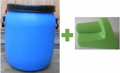 Plastic Barrel, Water Butt, Storage Barrel with Lid, Feed Bins 50Ltr with Scoop