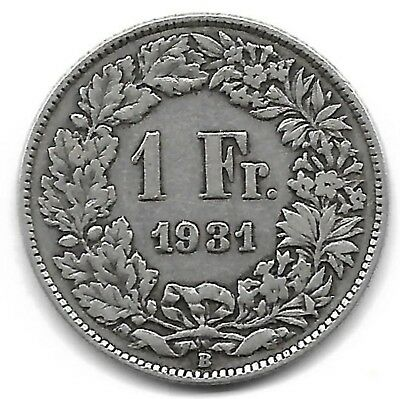 Switzerland 1931 B 1 franc silver coin