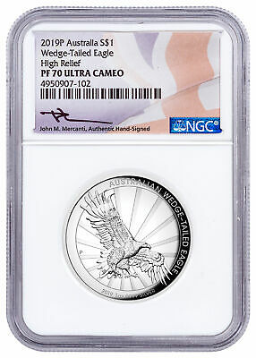 2019 P Australia 1 oz Silver HR Wedge-Tailed Eagle NGC PF70 UC Mercanti SKU57173