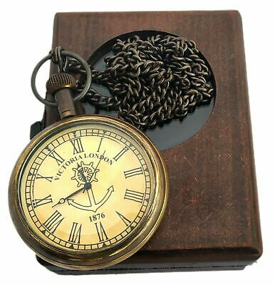 Pocket Watch With Chain Clock Victoria London Antique Look Replica w Wooden Box