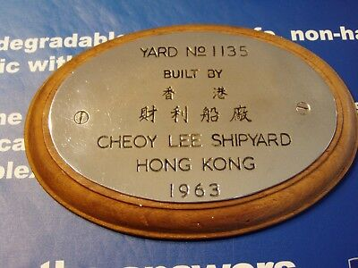 1963 Cheoy Lee Shipbuilders Plaque Yard no 1135 Hong Kong NICE CONDITION