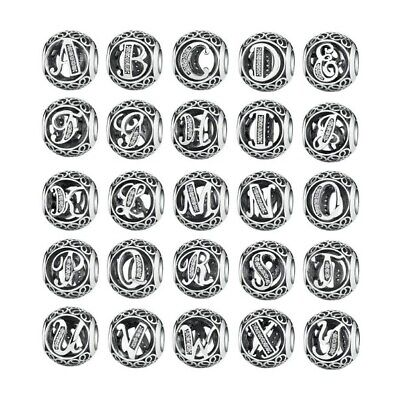 Pandora Charm S925 Openwork Charm Alphabet Letter A to Z Sterling Silver