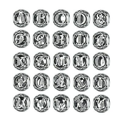 Vintage Openwork Charm Alphabet Letter Charm Letter A to Z Sterling Silver S925