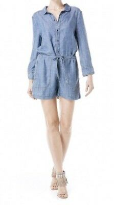 cde8eb351476 Level 99 Chambray Linen Romper Anthrpologie MILLY Button Front Short XS  132