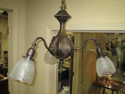 1920's ALL BRASS 3 LIGHT CHANDELIER WITH SIGNED GILLINDER SHADES