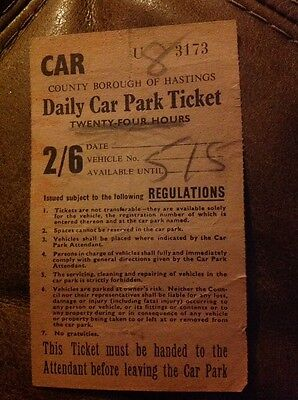 Vintage Daily Car Park Ticket Borough of Hastings