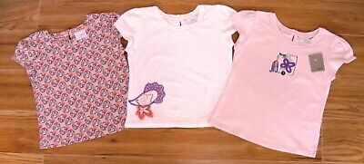 Bnwt Girls Next Summer Tops 3-4 Yr New Elephant T-Shirt Holiday Party Pink White