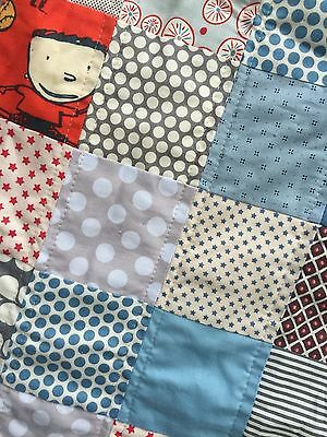 Handmade Child Patchwork Quilt / Quillow in Denim, Red, Monkeys and Little Boys