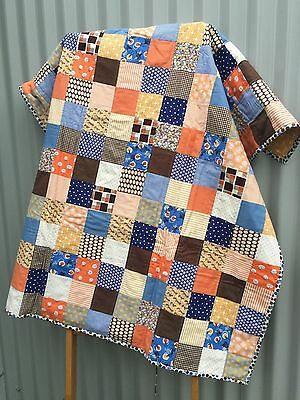 Handmade Child Patchwork Quilt / Quillow in Denim Orange Chocolate Mustard