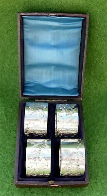 4 BRIGHT CUT VICTORIAN AESTHETIC MOVEMENT SILVER NAPKIN RINGS 1887 - 2.74 ozt
