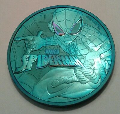 2017 Tuvalu marvel spiderman 1oz silver coin , awesome toning, toned*