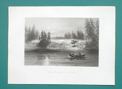 CANADA Les Chats Falls of Ottawa - 1840s Engraving Print by BARTLETT