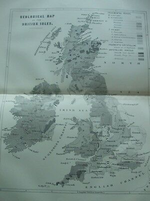 Antique Print C1870's Map Of The British Isles Engraving Geology Geographical