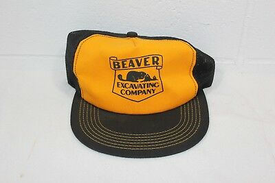 Vintage Mesh Snapback Trucker Hat Beaver Excavating Co. K Products Yellow Black