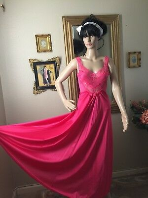 Vtg Eyefuls Beautiful Nightgown Trim With Lace Hot Pink Color Size (M)