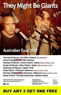 THEY MIGHT BE GIANTS 2019  Laminated Australian Tour Poster