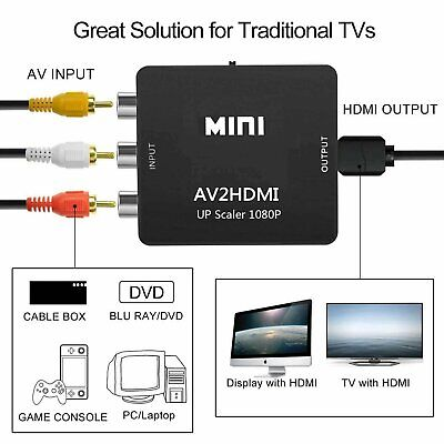 RCA to HDMI Converter, Composite AV CVBS Video Adapter 720p 1080p Wii, NES SNES