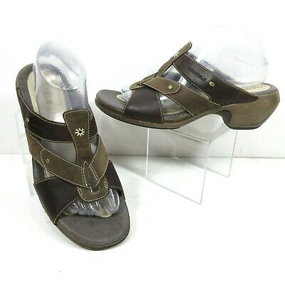 f82f1d29682e9 MERRELL Size 9 Luxe Slides Coffee Slip On Brown Leather Sport Sandals  Strappy