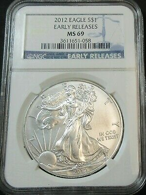 2012 Early Releases American Eagle 1 Ounce Fine Silver Dollar Coin Ngc Ms 69