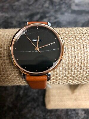 39d68a6dae7d Fossil Jacqueline Black Marble Rose Gold Leather Band Women s Watch ES4378  NWT