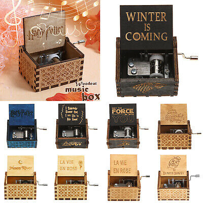 Harry Potter Wooden Hand Engraved Music Box Birthday Gifts Ornament Decoration