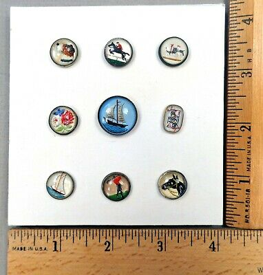 Card of 9 ANTIQUE BUTTONS, Assorted Pictorial UNDER GLASS, set in Metal