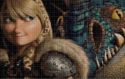 How to train your dragon- Astrid cross stitch pattern in pdf