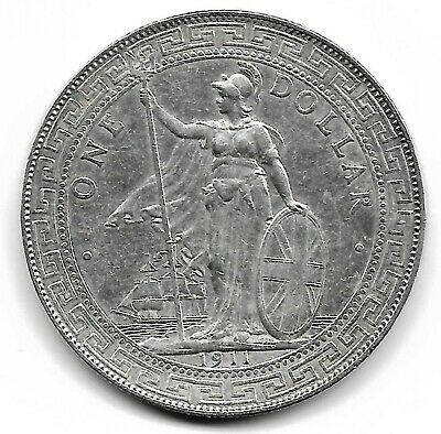 Great Britain Uk 1911 trade dollar silver coin