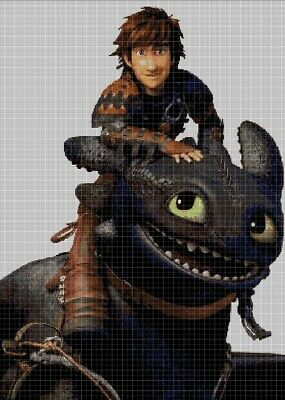 Hiccup and Toothless cross stitch pattern in pdf