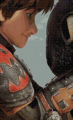 Hiccup and Toothless cross stitch pattern in pdf2