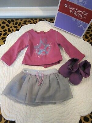 "EUC AMERICAN GIRL 18"" Doll Shimmer Doodle Skirt Purple Boots Shoes Outfit Box"