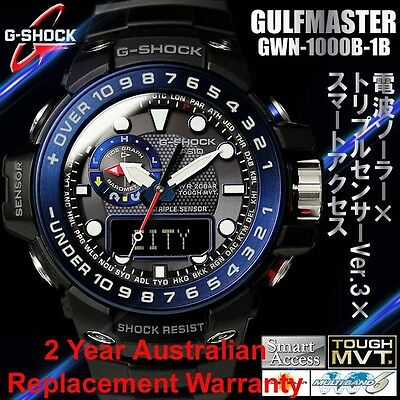 CASIO G-SHOCK GULFMASTER MEN WATCH GWN-1000B-1B BLACK x BLUE GWN-1000B-1BDR