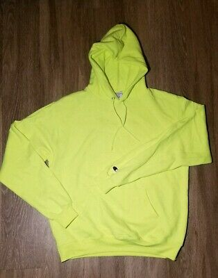 Men's Fleece Volt Eco C Neon Patch Hoodie M New Champion Greenyellow Authentic HD2IE9