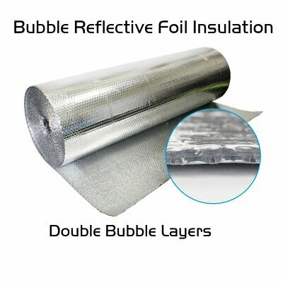 Home House Attic Roof Wall Dual Bubble Double Foil Heat Insulation Reflective