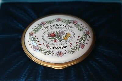 Halcyon Days Bilston small Oval enamel box A Token of Affection I.O.B Ex England