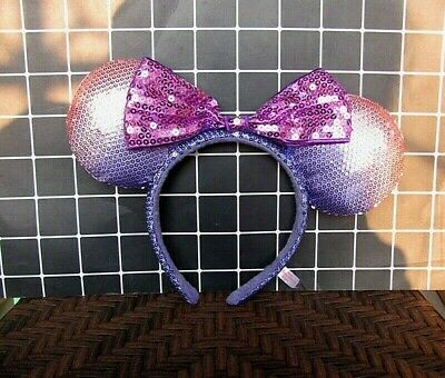 NEW Disney Tokyo  Parks Purple Minnie Mouse Bow Sequins Ear Headband Ears