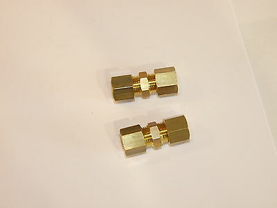 Two 8mm Brass straight compression fittings LPG Gas parts and fittings.