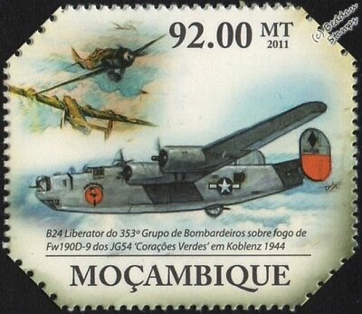 WWII 1944 Koblenz: Consolidated B-24 LIBERATOR and Fw.190D-9 Aircraft Stamp