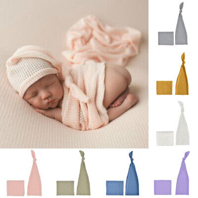 Newborn Baby Girl Boy Photography Photo Props Wrap Cocoon Swaddle + Hat Outfits