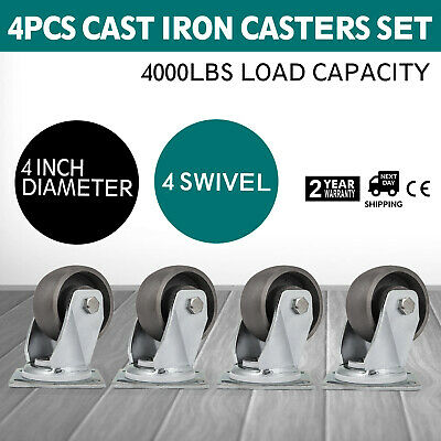 4'' Swivel Cast Iron Casters Set of 4 1000Lbs Freight Terminals Heavy Duty