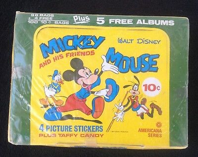 BOX OF MICKEY MOUSE AND HIS FRIENDS AMERICANA SERIES 100 packs ALBUMS RARE (#52)