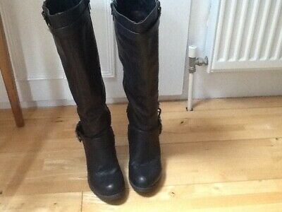 Ladies Lilley & Skinner Brown Leather Retro Zip Side Ankle Boots~ Size 6uk/39eur